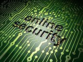 Security concept: circuit board with word Online Security