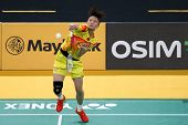 KUALA LUMPUR - JANUARY 15: China's Yao Xue smashes the shuttlecock during her qualifying match at th