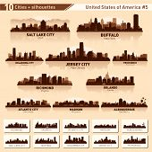 City Skyline Set. 10 Stad silhouetten van Usa #5