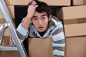Shocked logistics worker