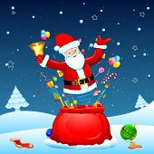 image of goodies  - illustration of santa popping out from sack with goodies - JPG