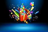 pic of sparkling wine  - illustration of gift box with champagne bottle and balloons - JPG
