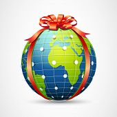 illustration of globe wrapped with ribbon on abstract background