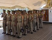 Naval cadets from Indonesian tall ship Dewaruci