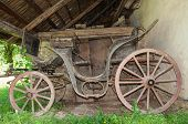 image of chariot  - Old traditional wooden chariot in a deserted barn - JPG