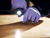 pic of crime solving  - Hand holding a flashlight and searching for evidence