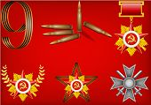 vector set of military objects, related to Victory Day