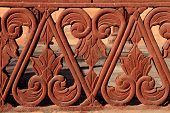 Detail Of Red Sandstone Balustrade, Rajasthan, India