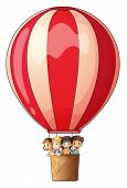 Illustration of a stripe air balloon flying with kids on a white background