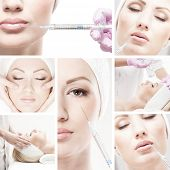 Collage made of some different pictures with the botox injections over white background