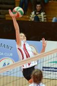 KAPOSVAR, HUNGARY - JANUARY 27: Zsanett Pinter (2) in action at the Hungarian I. League volleyball g