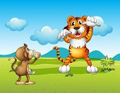 Illustration of a wild tiger and a cute monkey