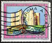 ITALY - CIRCA 1977: a stamp printed in Italy shows image of Castel del Monte, medieval castle in  Andria, Apulia region, southwestern Italy. Italy, circa 1977