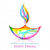 illustration of colorful diya for Happy Diwali Holiday