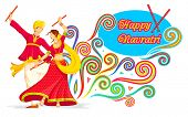 foto of navratri  - illustration of couple playing dandiya on Navratri - JPG