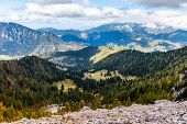 stock photo of velika  - Meadows in the vicinity of Mala and Velika Raduha mountains, Kamnik-Savinja Alps, Slovenia. View which opens when climbing to the top by the easiest trail.