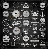 Hipster style infographics elements and icons set for retro design. With bicycle, phone, sunglasses, mustache, bow, anchors, apple and camera. Vector illustration. Chalkboard variant.