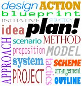 The word Plan and related terms in a background of text such as blueprint, design, action, initiativ