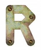 Old metal alphabet letter R