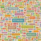 FITNESS. Concept vector illustration. Word cloud with related tags and terms. Graphic tag collection. Wordcloud collage.