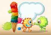 Illustration of a giant icecream near the two monsters with an empty callout