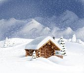 Christmas winter landscape - wooden hut, snow, pine trees, mountains. Copy space, illustration
