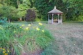 Flowers And Gazebo On A College Campus In Indiana