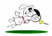 A cartoon dog playing tennis