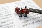 Violin Neck Resting On Sheet Music