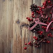 stock photo of cone  - Rustic Christmas Decoration - JPG