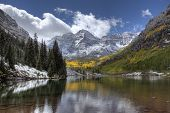 Maroon Bells In Autumn After A Snow