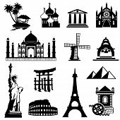 stock photo of india gate  - set vector black and white icons of landmarks - JPG