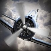image of fighter plane  - Dramatic scene on the sky - JPG