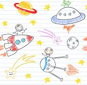 Seamless background with happy children's and aliens. Sketch on notebook page