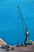 stock photo of dredge  - modern dredge in the harbor on a sunny day - JPG