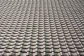 Texture of roof, texture of grey rooftop in temple.