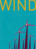 vector retro wind turbines illustration