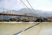 Hanging bridge over Ganges River