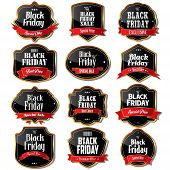 foto of friday  - A vector illustration of black Friday sale label designs - JPG