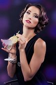 Beautiful Elegant Girl With A Martini Glass