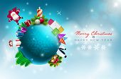 Vector Christmas world illustration. Christmas and new year greeting design template. Elements are l