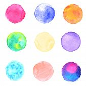 Watercolor circles collection. Watercolor stains set isolated on white background. Watercolor techni