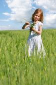 Cute Girl In Wheat Field Portrait