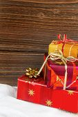 foto of superimpose  - several parcels of gifts for christmas are superimposed - JPG