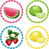 Watermelon, Limes, Strawberries, Lemons Label Tags