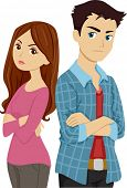 Illustration of a Teenage Couple Having a Lover's Quarrel