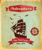 Vintage retro nautical poster with sailing ship