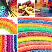 Collage of photos in rainbow colors