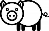 picture of baby pig  - Cute simple black and white pig for icon - JPG
