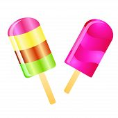 image of lolli  - Two color Ice cream lollies isolated on the white phone - JPG